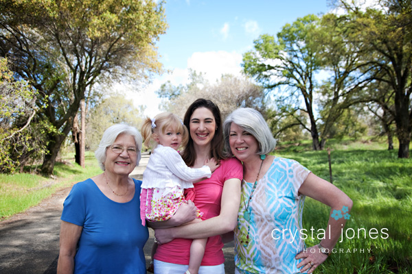 Outdoor four generations family portrait in rocklin california