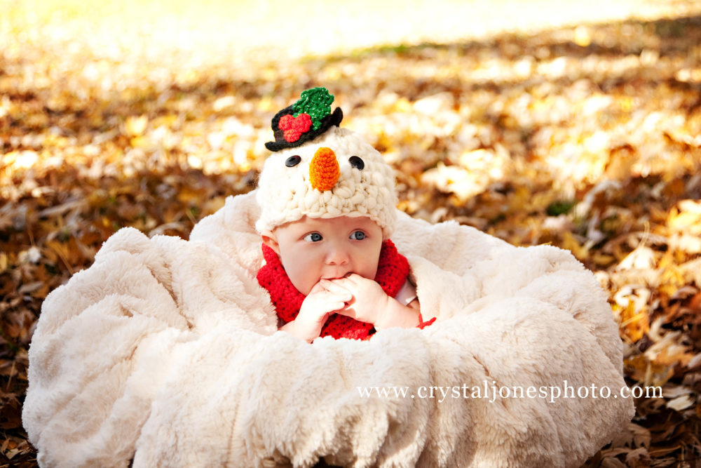 3 month snowman themed milestone portrait