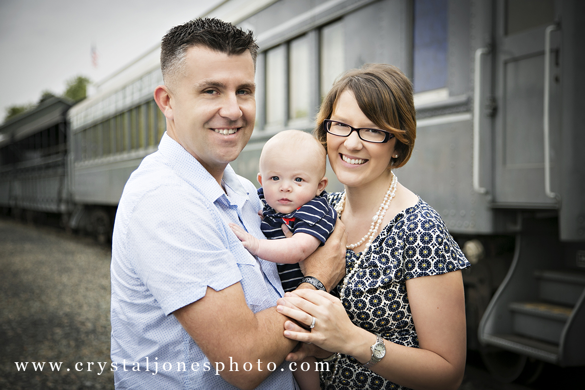 Family portraits with 3 month old baby in Old Sac
