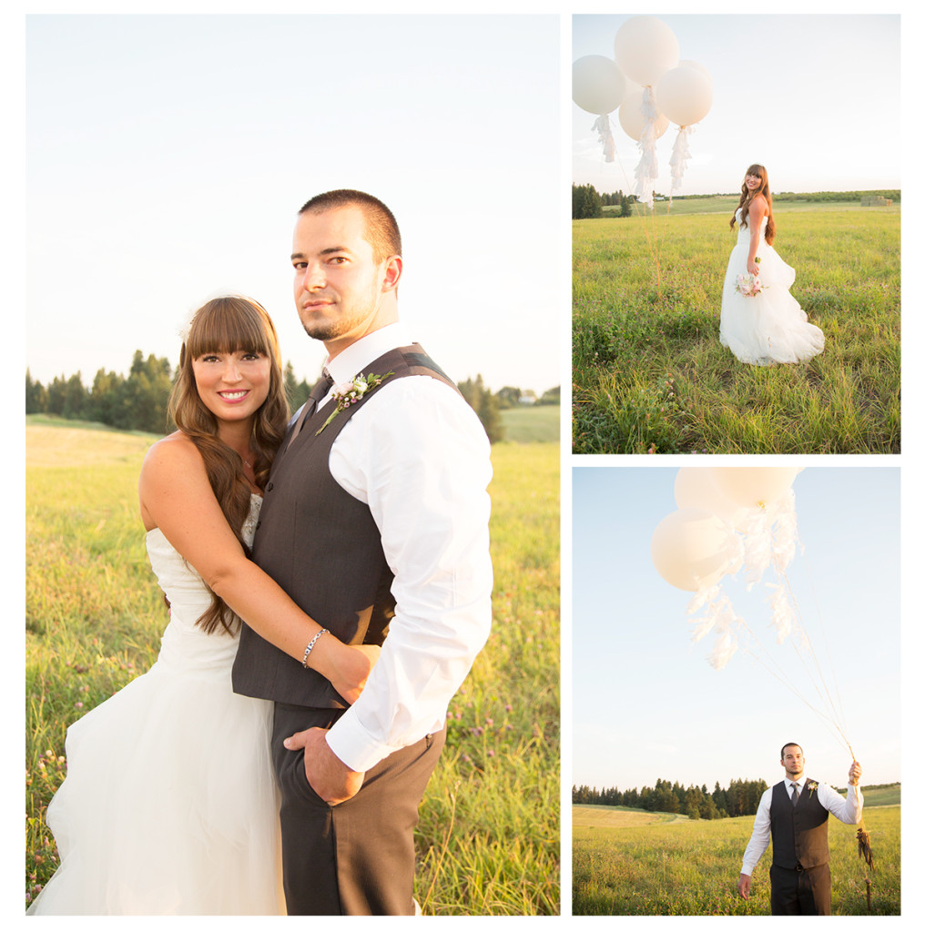 bride and groom pose in field with white balloons