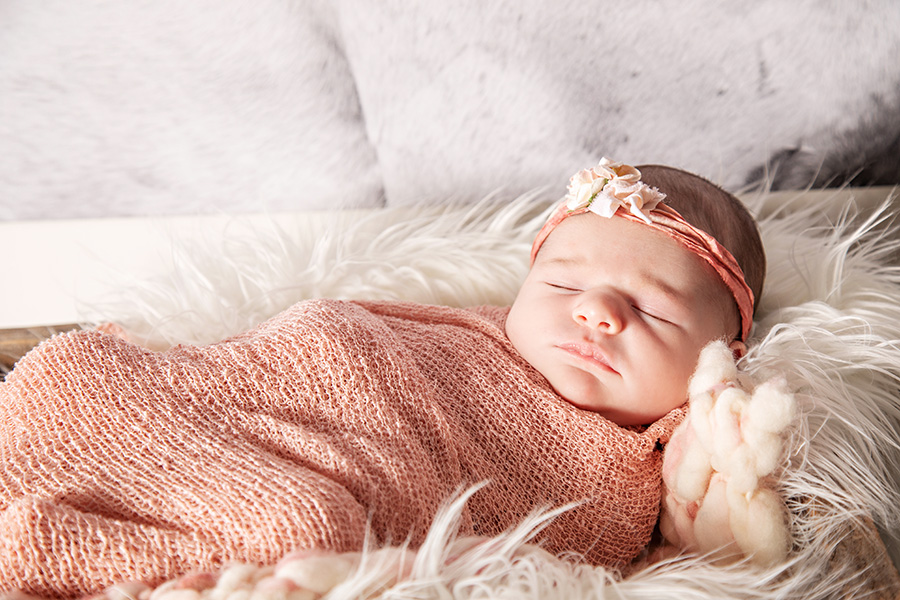 Newborn Baby Girl Wrapped in Pink 011
