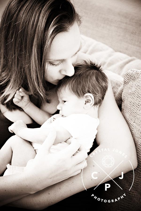 Mom with newborn baby boy