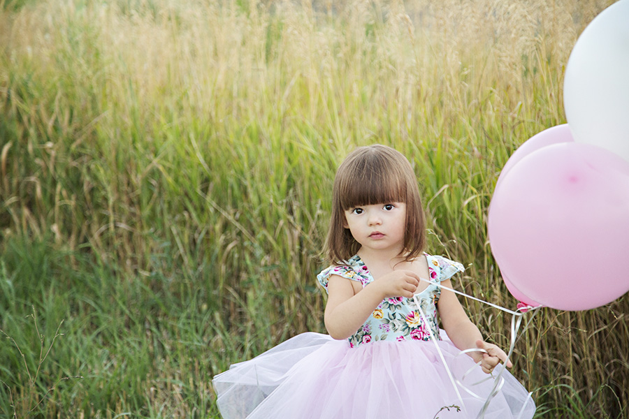 2 Year Birthday Photos of Toddler with Balloons