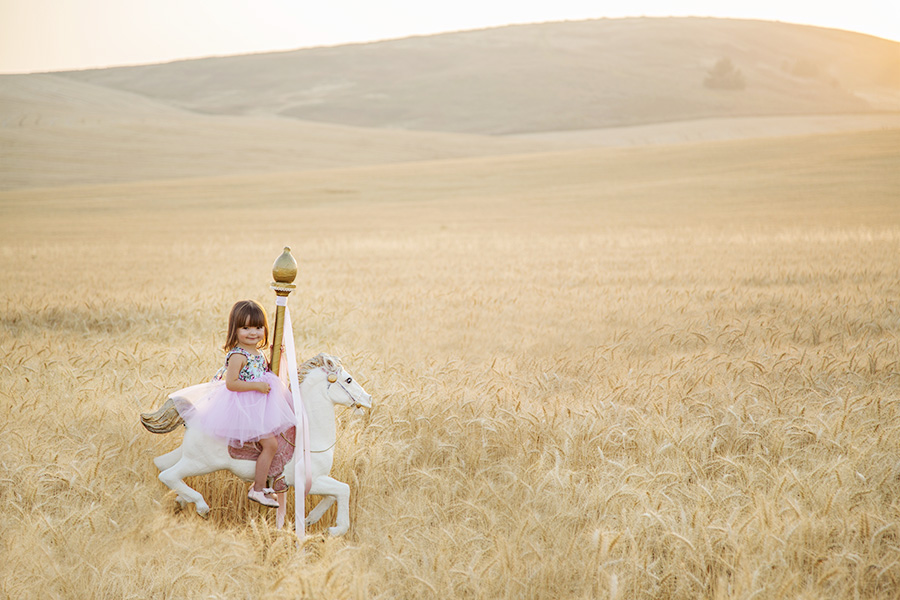 Little Girl on Carousel Horse in Wheat Field