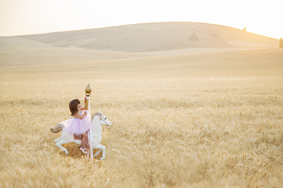 Magical Toddler Portrait Session with Carousel Horse in Wheat Field