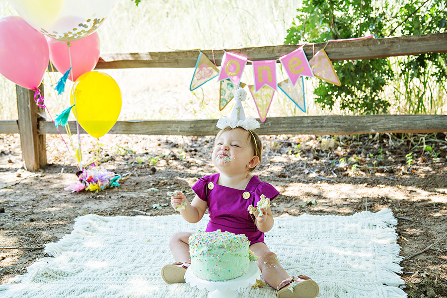 Outdoor Cake Smash for One Year Old Girl