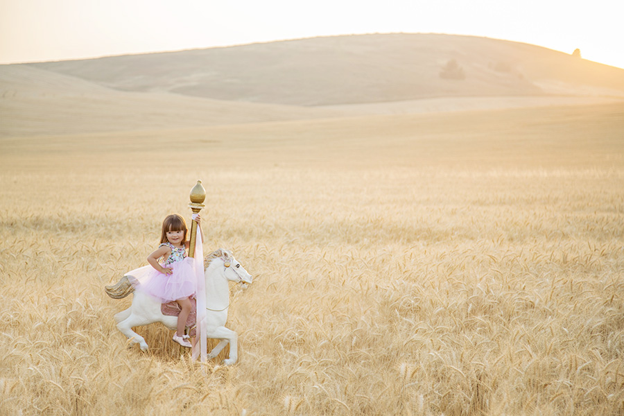 Toddler on Carousel Horse Photo Shoot
