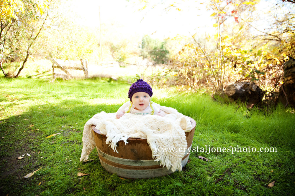 3 Month Milestone Photos in a Wine Barrell