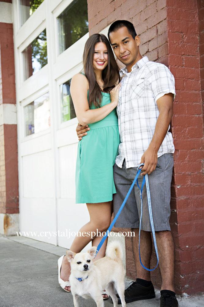 Adorable couple poses for photos with their dog in Midtown Sacramento