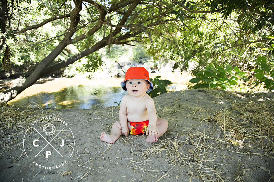 Bright Orange Outfit on the Beach at 8 months Old