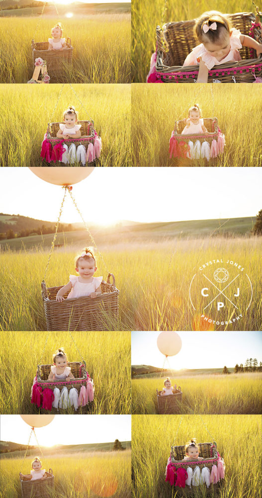 One year milestone photo shoot with DIY hot air balloon