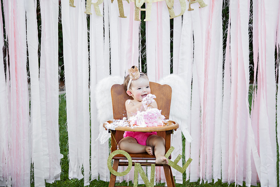 One year cake smash for baby girl