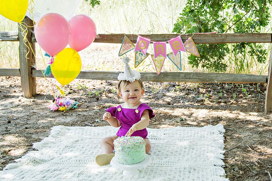 Colorful Cake Smash for Baby Girl in Roseville CA