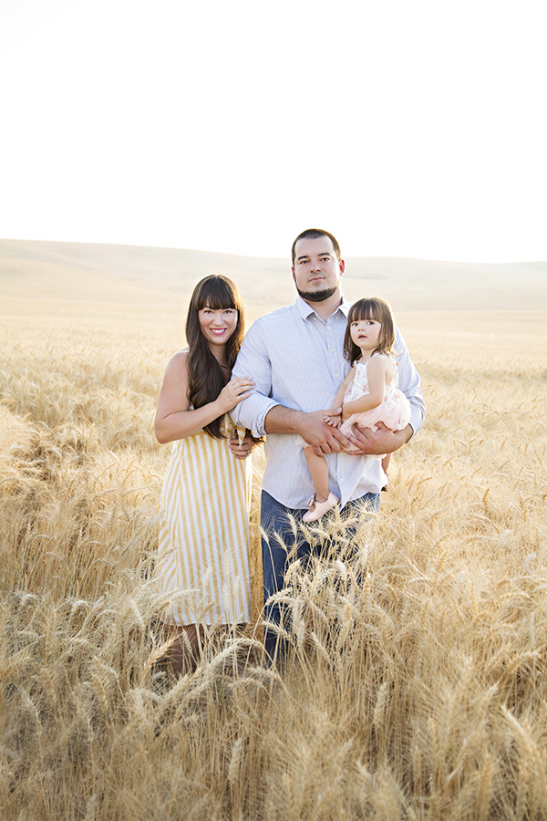 Family Photos in a Wheat Field at Sunset