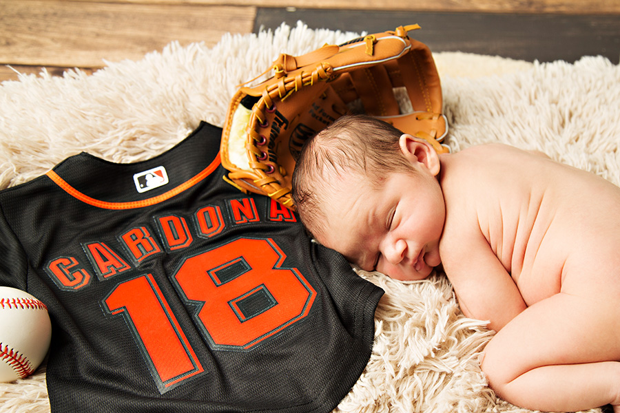 Giants Themed Newborn Boy Baseball Photos