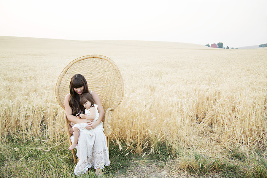 Mother Daughter Portraits in Peacock Chair
