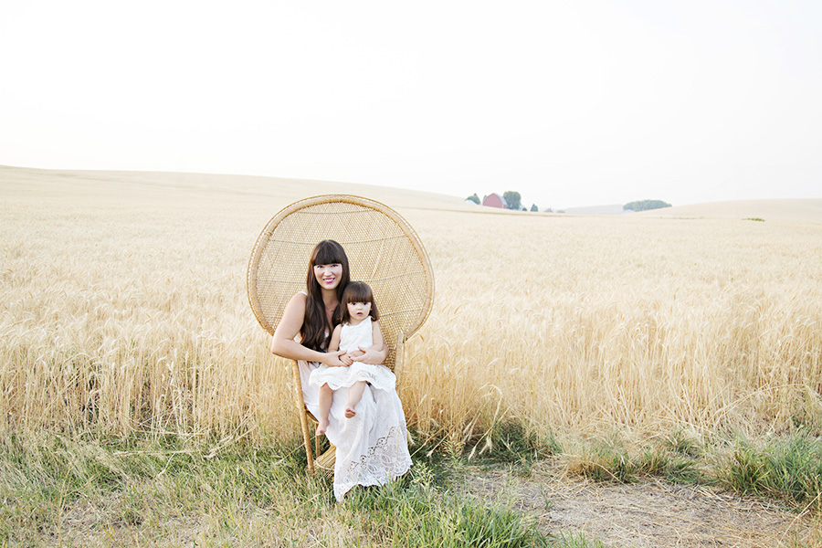 Mother Daughter Portraits in Wheat Field