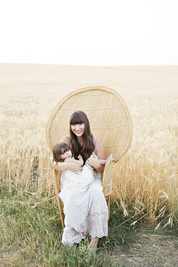 Mother Daughter Portraits in Wheat Field with Peacock Chair