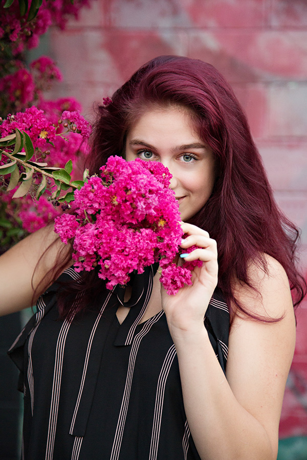 Natural Beautiful Senior Portraits in Downtown Roseville