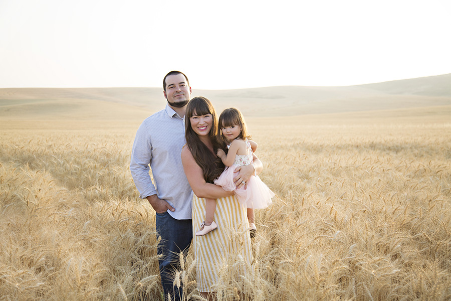 Outdoor Family Portraits in a Wheat Field