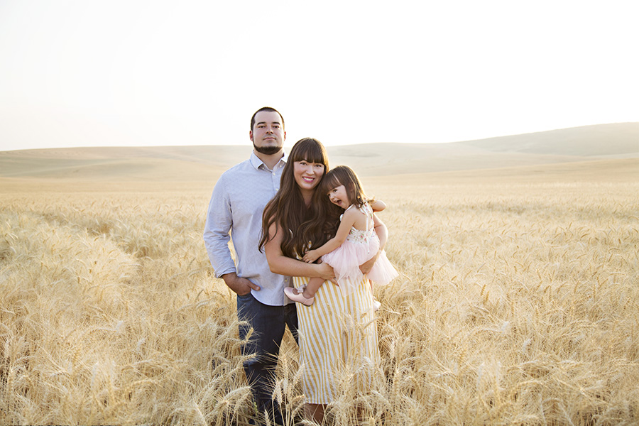 Outdoor Family Portraits in a Wheat Field at Sunset