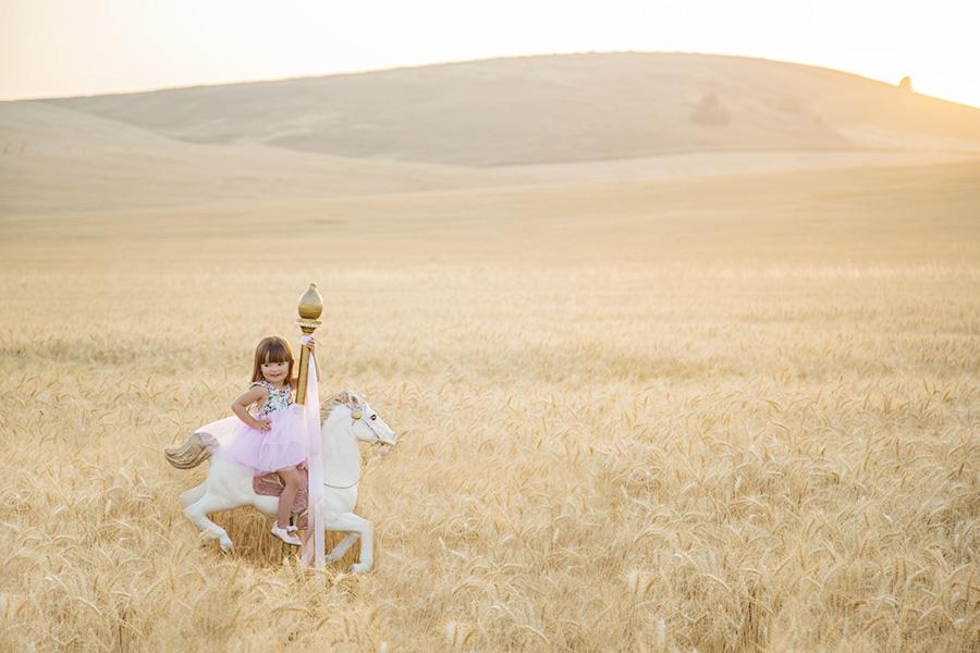 Toddler on Carousel Horse Photo Shoot